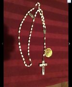 Antique Catholic Rosary Silver Our Lady Of Lourdes Water Relic