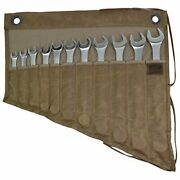 Waxed Canvas Wrench / Tool Roll 11 Pockets Hanging Storage For Craftsmen