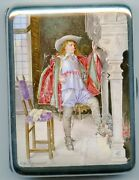 Vintage Sterling Silver Hand Painted Cigarette Case Musketeer 19th Century Rare