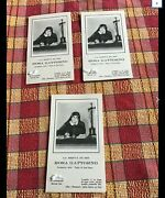 Very Rare Lot Of 3 Holy Cards Relic Rosa Gattorno - Ex Vestibus - From Italy