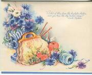 Vintage Bachelor Buttons Flowers Vase Purse Knitting Yarn Needles Note Art Card