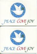 2 Vintage Christmas Embossed White Dove Blue Snowflakes Holly Greeting Art Cards
