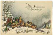 Vintage Christmas Victorian Wooden Sleigh Rides Horses William Mark Young Card