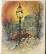 2 Vintage Christmas Garrison Colonial House Lantern Horse Greeting And Santa Cards