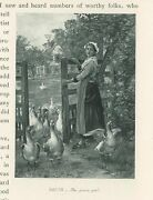Antique Goose Girl Geese Nature House Landscape Pasture Miniature Art Old Print