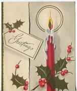 Vintage Christmas Red Candle Flame Gold Embossed Holly Leaves Mcm Greeting Card