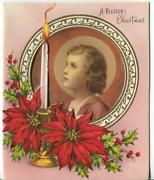 Vintage Christmas Christ Child Lamb Candle Poinsettia Embossed Greeting Art Card