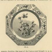 Antique China Chinese Plate Flowers Ornamental Decoration Hexagon Small Print