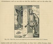 Antique Cook Cooking Fire Spit Spoon Man Chef Pot Pan Small Miniature Old Print
