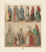Antique Russian Man Woman Costume Bagpipes Chromolithograph Art Color Print