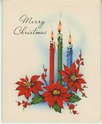 Vintage Red Christmas Poinsettia Plant Burning Candle Merry Greeting Card Print