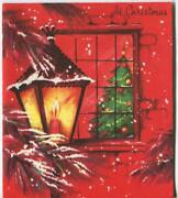 Vintage Christmas Red Candle Lantern Tree Snow Snowflakes Greeting Card Art Card