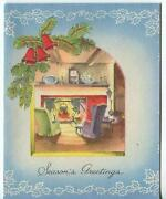 Vintage Christmas Shabby Fireplace Parlor Chic Mantle Clock Candle Greeting Card
