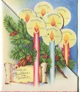 Mid Century Christmas Candle Pine Cones Holly Berries Days Of Week Greeting Card