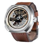 Sevenfriday Menand039s Watch V-series Automatic Brown Semi-matte Leather Strap V2-01