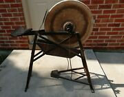 Antique Farm Primitive Pedal Operated Sharpening Stone Grinding Wheel