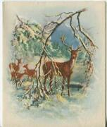 Vintage Christmas Snow Glitter Deer Fawn Buck Winter And Santa Claus Greeting Card