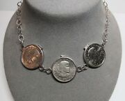 Susan B Anthony 1979 1 Dollar 3 Coin Sterling Silver Pendant 18.5 Necklace