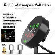 Water Temp Time Timing Voltage Usb Charging 5 In 1 Motorcycle Gauge+22mm Adapter