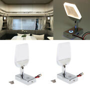 2pcs Led Reading Light Touch Control Dimmable Marine Rv Usb Port Adjustable