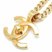 Authentic Gold Plated Coco Mark Pendant Necklace 96a /095554 Free Ship