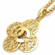 Auth Gold Plated Coco Mark Clover Pendant Necklace 95a /095555 Free Ship