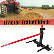 49'' And 17'' Tractor Trailer Hitch Category 1 3 Point Quick Attach Hay Bale Spear