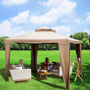 Patio Gazebo Outdoor Canopy With Netting Shelter Awning Steel W/netting Tent