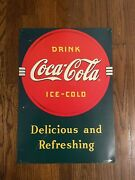 Antique Metal Advertising Signs - Coca Cola - Delicious And Refreshing