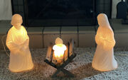 Vintage Nativity Mary, Joseph And Baby Jesus Blow Mold Plastic Lighted Beco