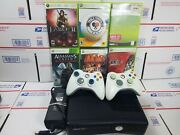 Microsoft Xbox 360 Slim 250gb Console W/ Cords And 2 Controllers Tested And Works