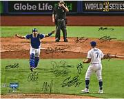 Dodgers 2020 Ws Champs Team Signed 16 X 20 Last Out Photo And 12 Sigs - 25/25
