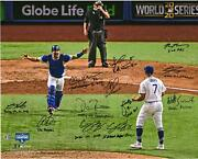 Dodgers 2020 Champs Signed 16 X 20 Photo With 12 Sigs And Multiple Inscs - 7/7