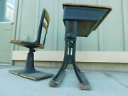 Antique Pat'd 1925 Metal And Wood Childs School Adj Pop Up Desk And Swivel Chair