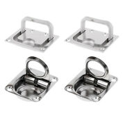 4-pack Stainless Steel Boat Deck Hatch Flush Ring Pull 43x36mm / 75x55mm