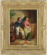 The Sailorand039s Lass Antique Oil Painting By George Augustus Holmes 1822-1911