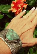 Menand039s Navajo Signed Natural Broken Arrow Turquoise Sterling Silver Cuff T .jon