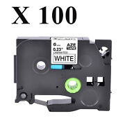 100pk Black On White Tz-211 Tze-211 1/4and039and039 Label Tape For Brother P-touch Pt-2200