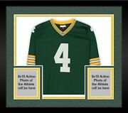 Framed Brett Favre Green Bay Packers Signed Green Mitchell And Ness Replica Jersey