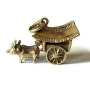 Rare Heavy Vintage 14k Chinese Oxen Ox Cattle Cart And Driver Charm Pendant