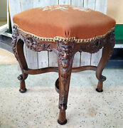 Antique Victorian Bird Flower Needlepoint Carved Wood Old Man North Foot Stool