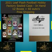 2021 Leaf Flash Football Hobby Factory Sealed Case 12 Boxes - Free Shipping