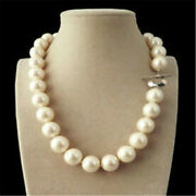 14mm Genuine White South Sea Shell Pearl Round Beads Necklace Charm Personality