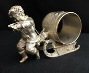 Antique Wilcox 01576 Silver Plate Boy Pulling Sled Napkin Ring Holder No Mono
