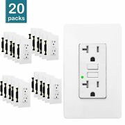 20a Gfci Outlet Receptacle With Wall Plate Led Indicator Etl Listed White 20pcs
