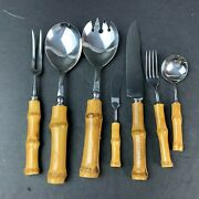 Vintage Authentic Bamboo Handle Stainless Steel Silverware Serving Set Japan Htf