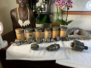 Greenlee No.730 Radio Chassis Punch Lot Of 9 Pieces Rare Bundle Matching Tins