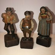 Three Hand Carved Wood Figurines Made In Italy
