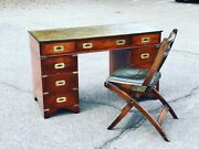 Campaign Pedestal Desk With Green Leather Top And Matching Chair.