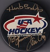 Beckett Herb Brooks-craig-eruzione Signed Miracle On Ice Usa Olympic Puck 7978